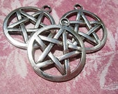 3 Large Silver finish PENTACLE Charms -  D.I.Y. Wiccan Jewelry Making Majicks
