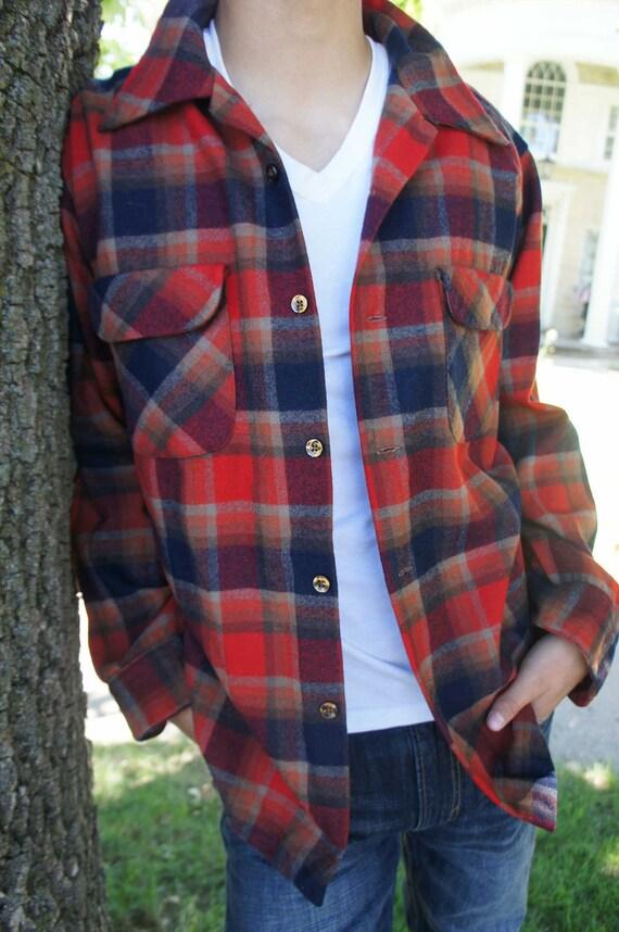 Vintage Pendleton Wool Shirt Button Front Red Blue Plaid  Retro