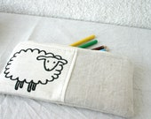 Pencil case pencil pouch natural linen neutral sheep back to school