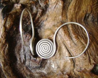Karen Hilltribe Spiral Silver Earrings - The Simply of Life (2)