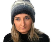 women Knit hat ,knitted hat ,winter fashion , Slouch Hat for Women, gray and blue , Slouch beret,Winter knit beret , for her