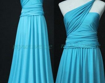 Blue Wedding Infinity Dress Maxi Dress Wrap Convertible Dress Evening Bridesmaid Dress Formal
