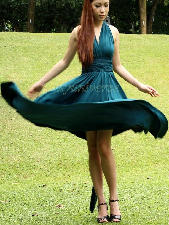 Knee Length Infinity Dress Bridesmaid Dress Wrap Convertible Dress Green Evening Cocktail Dress