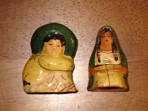Reserved for Stacie - Tlaquepaque Mexican Folk Art Pottery Salt and Pepper Shakers