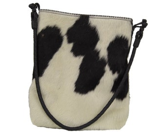 Black and White Hair-On Cowhide Purse/Tote - The Oreo