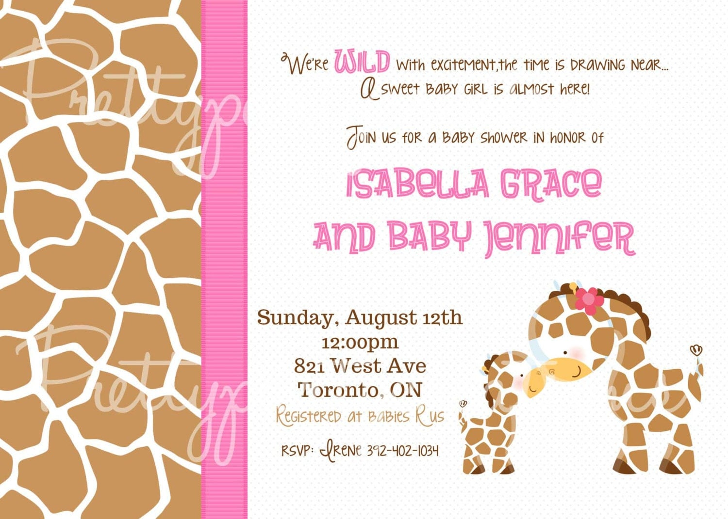 items similar to baby giraffe baby shower invitation you print