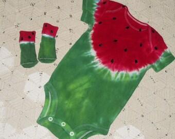 Tie dye WATERMELON bodysuit/socks -   INSTANT Halloween Costume, Watermelon festivals, lazy summer days, 1200