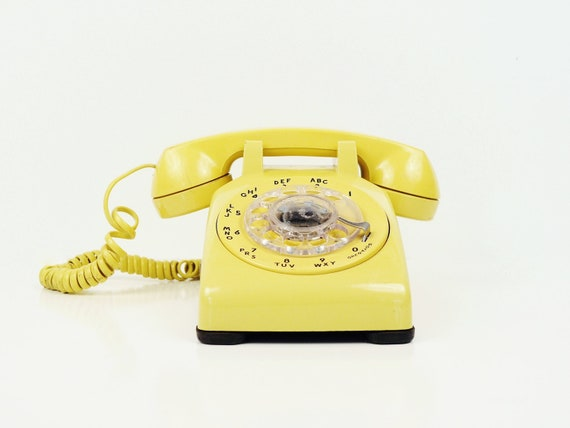 Canary Yellow Rotary Telephone -  Bell Systems Phone