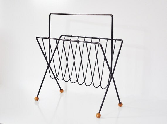 Mid-Century Magazine Rack with Wooden Feet