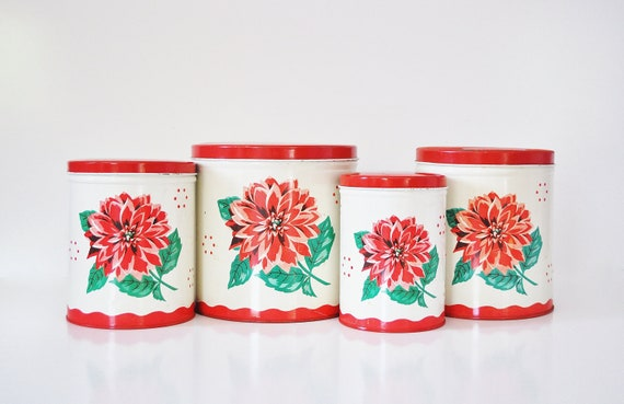 Red and White Mid-Century Canister Set