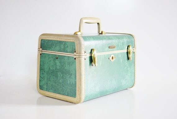 Seafoam Green Samsonite Train Case - Mid Century