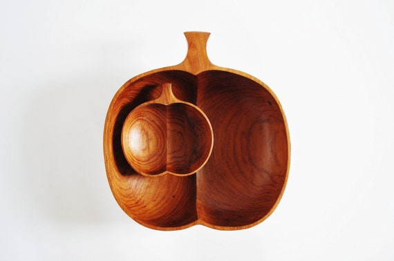 Wooden Apple Serving Set - Large Serving Bowl and Four Small Bowls
