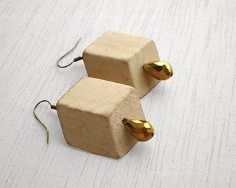 Wooden geometric earrings cream cube golden drop beads
