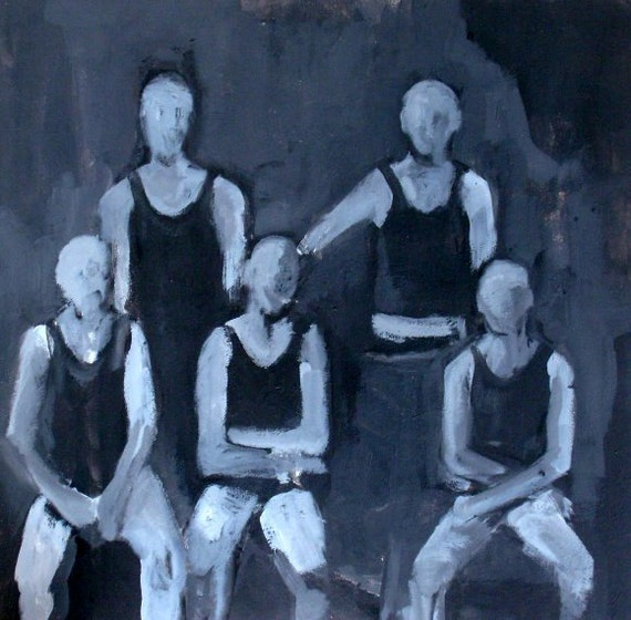 Original Painting of Sports Team in Black and White - Francis Bacon Influenced