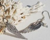 Angel Wing Earrings Silver Wing Earrings Pearl Steampunk Angel Wing & Pearl Earrings