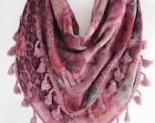 Triangle Cotton Scarf With Pompoms, Lilac - Pink, Fashion, Headband, Bandana