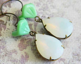 Dangle Earrings Vintage Opal Glass and Mint Green Flowers - Rain Drops on Roses