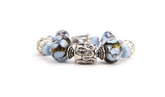 Autumn Denim Blue Robins Egg Blue Olive Floral Lampwork and Sterling Silver Bracelet:  Santa Barbara