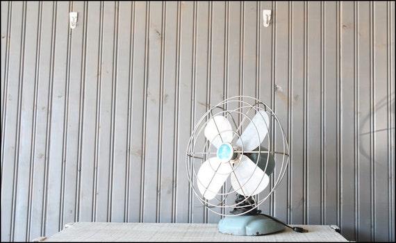 Powder Blue Table Top Fan // Industrial Decor