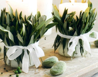 Candle WREATHS, Rustic, French Candle Wrap . . . Candles wrapped with ribbon and leaves
