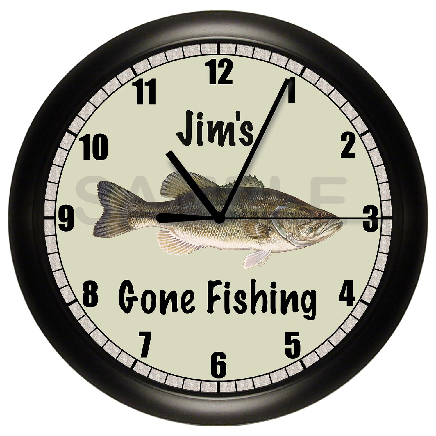 Fishing bass wall clock fish gift for Fish wall clock