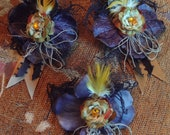 Gothic Victorian Purple and Gold Flower Clips / Eugenia