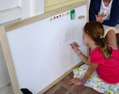 DRY ERASE Whiteboard Kids Wood Framed Extra Large Magnetic Board - Handmade Frame 26.5 x 38.5 and Vintage Button Magnets
