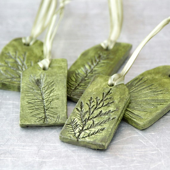 Ceramic Ornaments With Natural Plant Impression Christmas