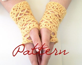 Lace Fingerless Gloves Crochet Pattern Split DC and Mesh Lace Gloves