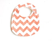 little eater baby bib / eating bib for the modern baby / toddler in orange chevron