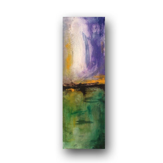 Small Paintings Abstract Purple and Green and Orange Painting Original Painting on Canvas Contemporary Art 6x24 by Heather Day
