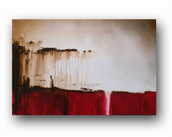 Red Canvas Abstract Painting Minimalist Art Large Original