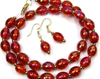 Vintage Red Glass Necklace Earring Combo, Red Hat Jewelry