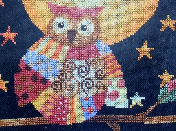 Elizabeth Spurlock BEWITCHING OWL Bernadette Deming Artwork Halloween Design - Counted Cross Stitch Pattern Chart