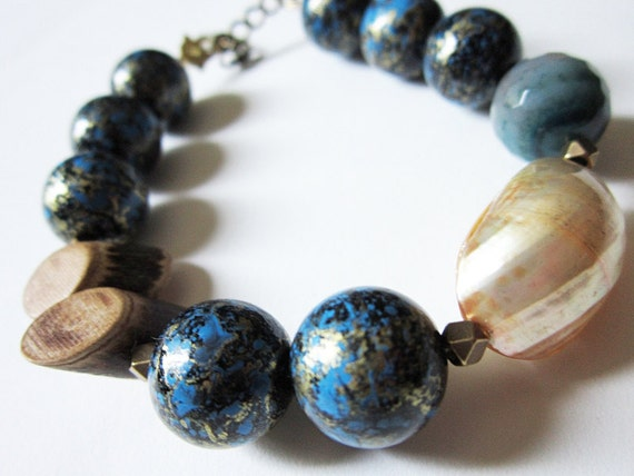 Shell, Brass, Wood, Agate & Vintage Lucite: Midnight at the Beach OOAK Bracelet