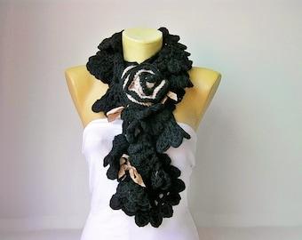 Black crochet  ruffle scarf ,crochet long scarf ,scarf