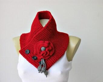 Red knit  Neckwarmer, knit scarf  , winter scarf, woman winter scarf ,