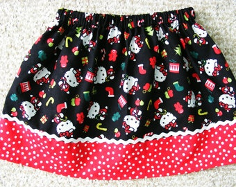 Clearance Hello Kitty  Christmas Skirt  (12 mos, 18 mos,24 mos,  2T,  3T, 4T, 5, 6)
