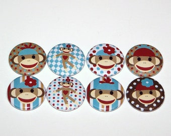 "sock monkey 1 Inch Pin Back Buttons 1"" Pins or Magnets"
