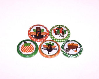 """Thanksgiving Turkey Day 1 Inch Pin Back Buttons 1"""" Pins"""