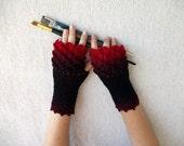 Fingerless gloves - black red Transitional Ombré mittens Khaleesi Dragon
