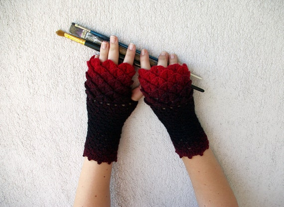 Dragon Gloves Knitting Pattern : Fingerless gloves black red Transitional Ombre mittens