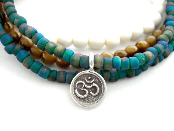 Ohm Charm Bracelet Set, Czech Glass, Wooden Mala Bead, Silver Ohm Yoga Bracelets