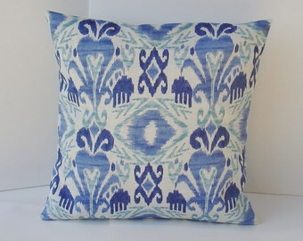 IKAT Decorative Pillow Cover--Designer Fabric-- 16 x 16 --Throw Pillow--Blue and off- white
