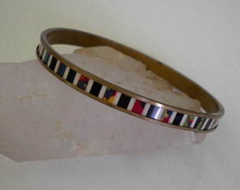 Art Deco Celluloid Bracelet Brass Bangle