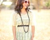 Sheer Yellow Maxi Dress 70s - SIze: Medium