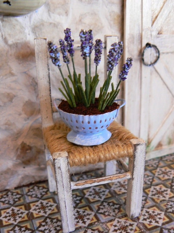 Lavender in a strainer for dollhouse