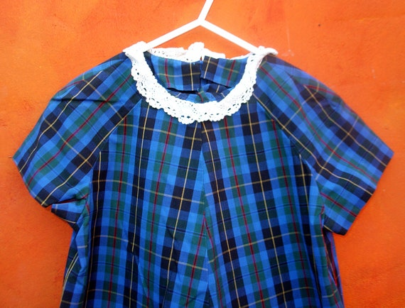 VINTAGE 60s Girl's Blue Plaid Mod Shift Dress