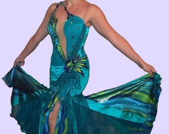 Green Ballroom Dance  Dress  Green Gown For Smooth Dancing