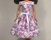 Purple Posies - Barbie Dress Handmade Barbie Doll Clothes
